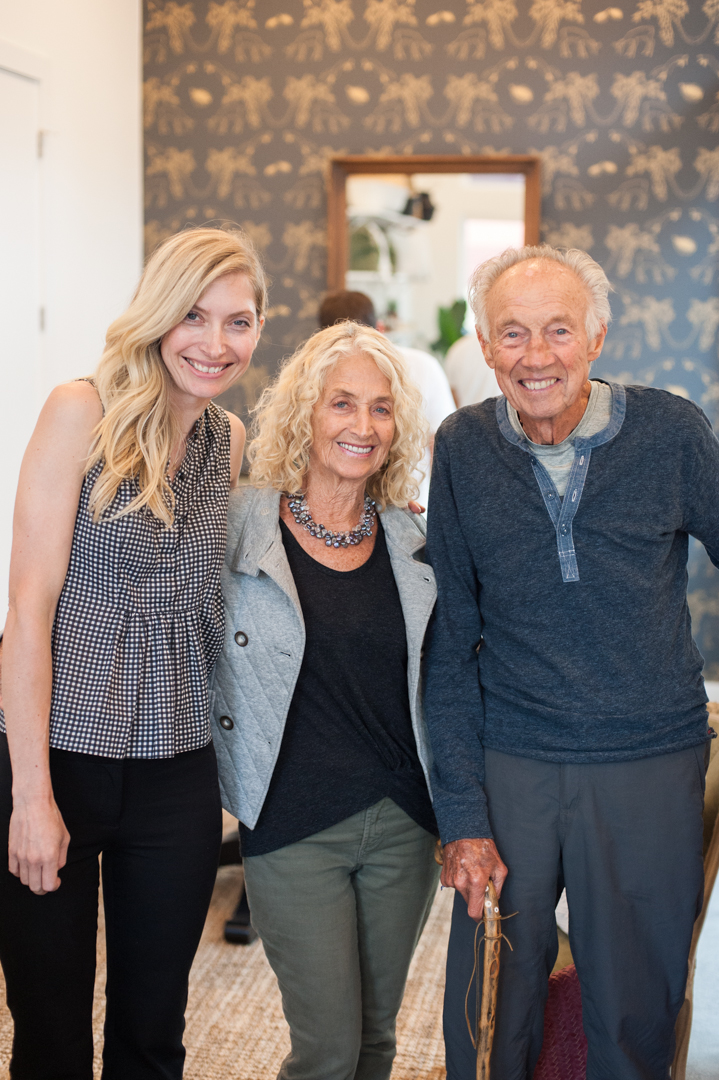 Sally Honeycutt and grandparents at Anders opening.